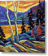 Sunset Geo Landscape Original Oil Painting By Prankearts Metal Print