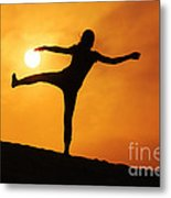 Sunset Girl Silhouette  Metal Print