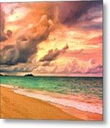 Sunset Glow At Waimanalo Metal Print