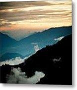Sunset Himalayas Mountain Nepal Panaramic View Metal Print