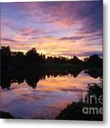 Sunset II At Japanese Garden Metal Print