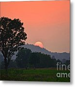 Sunset In Countryside Metal Print