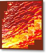 Sunset In Desert Abstract Collage  Metal Print
