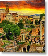 Sunset In Rome Metal Print by Stefano Senise