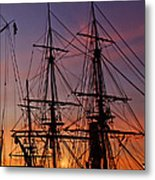 Sunset In San Diego Harbor Metal Print