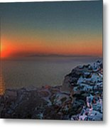 Sunset In Santorini, Greece Metal Print