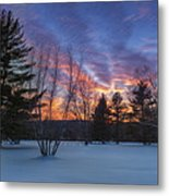 Sunset In The Park Square Metal Print