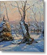 Sunset In The Winter Metal Print