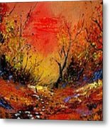 Sunset In The Wood Metal Print