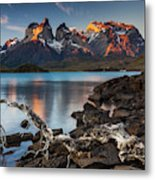 Sunset in Torres del Paine National Park,  Chile Metal Print