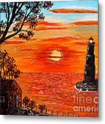Sunset Lighthouse Metal Print