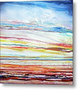 Sunset Low Tide Rhythms And Textures 5 Metal Print by Mike   Bell