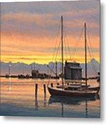 Sunset-north Dock At Pelee Island   Metal Print