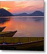 Sunset On A Mountainlake Metal Print