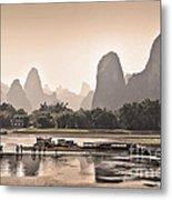 Sunset On Li River Metal Print