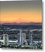 Sunset On Mount Hood Metal Print