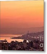 Sunset On Mountain City Metal Print