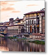 Sunset On Ponte Vecchio In Florence Metal Print by Susan Schmitz
