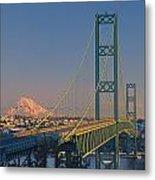 1a4y20-v-sunset On Rainier With The Tacoma Narrows Bridge Metal Print