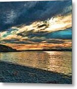 Sunset On Rocky Beach Metal Print