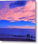 Sunset On Sand Beach Acadia National Park Maine Metal Print