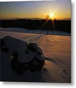 Sunset On Snow Metal Print