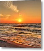 Sunset On The Baltic Sea Beach Of Leba In Poland Metal Print
