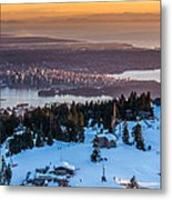 Sunset On The City Of Vancouver Metal Print