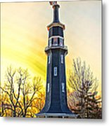Sunset On The Dwight Windmill Metal Print