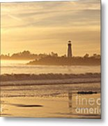 Sunset On The Lighthouse In Santa Cruz Harbor Metal Print