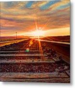 Sunset On The Rails Metal Print