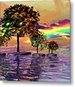 Sunset On Trees And Ocean Metal Print