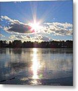 Sunset Ove A Frozen Pond Metal Print