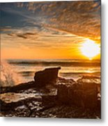 Sunset Over A Rough Sea I Metal Print