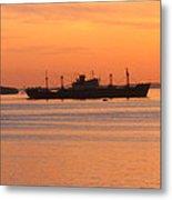 Sunset Over A Ship Metal Print