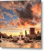 Sunset Over Buckingham Fountain Metal Print