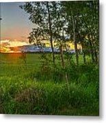 Sunset Over Farmers Field Metal Print