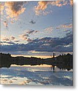 Sunset Over Flying Pond In Vienna Maine Metal Print by Keith Webber Jr