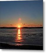 Sunset Over Frozen Wachusett Reservoir 2 Metal Print