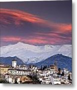 Sunset Over Granada And The Alhambra Castle Metal Print
