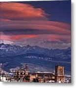 Sunset Over Granada And The Cathedral Metal Print