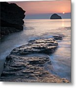 Sunset Over Gull Rock From Trebarwith Metal Print