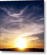 Sunset Over Hills With Clouds Metal Print