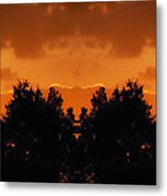 Sunset Over Jackson Michigan Mirror Image Metal Print