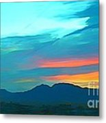 Sunset Over Las Vegas Hills Metal Print