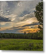 Sunset Over Lupine Fields Metal Print