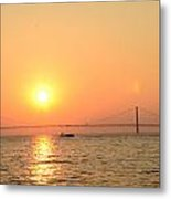 sunset over Mackinac Bridge Metal Print by Brett Geyer