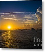 Sunset Over Miami From Out At Sea Metal Print