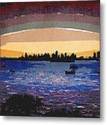Sunset Over Miami Metal Print