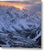 Sunset Over Mueller Glacier Lake Metal Print